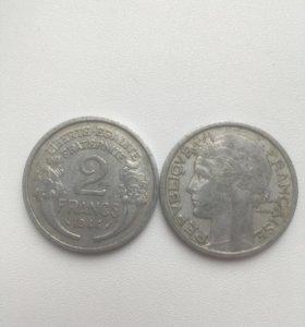 2 франка 1944 год. Франция
