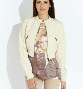 Бежевая укороченная куртка oodji р-р М