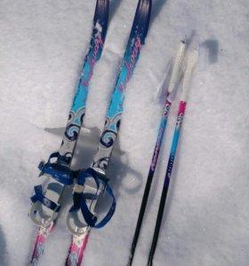 Лыжи -100 см.  + палки