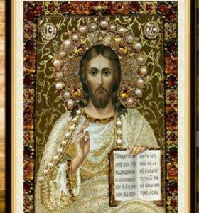 Икона из алмазной мозаики.