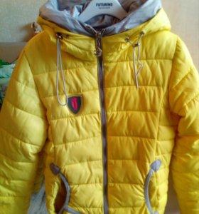 Куртка на девочку весна,шапочка в подарок)