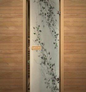 Двери стеклянные и деревянные для бань