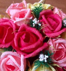Корзинка с цветами ( цветы из бумаги )