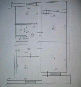Квартира, 3 комнаты, 73.5 м²