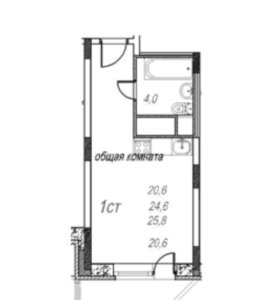 Квартира, студия, 28.9 м²