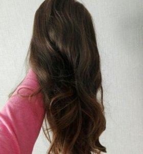 Парик с челкой новый, длинные искусственные волосы