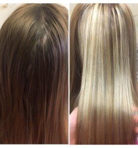 Окрашивание волос/стрижки/укладки