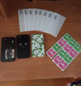 iPhone 4s чехол + защитное стекло