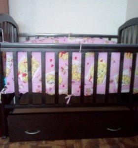Кроватка детская маятник + матрас