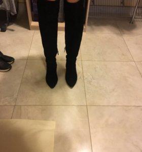 Сапоги-ботфорты чёрные замшевые