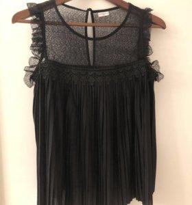 Топ блуза итальянский s xs чёрный кружевной