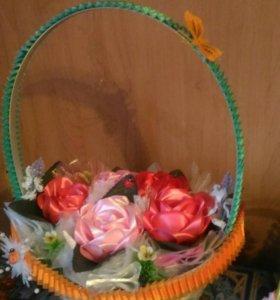Корзинка с цветами ручной работы