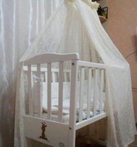Кроватка Колыбель Bambolina Candy белая