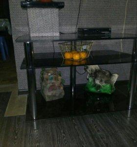 Полочка под телевизор стеклянная