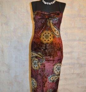Платье велюр золотой лепесток