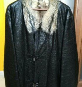 Мужская кожаная куртка на меху лисы