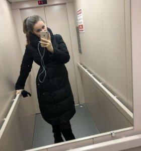 Пальто черное длинное пуховик