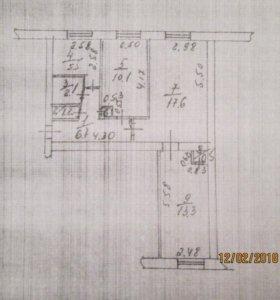 Квартира, 3 комнаты, 57.3 м²
