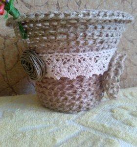 Декоративные корзиночки из шпагата