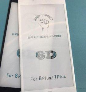 Защитное стекло на Айфон 6/7s/8/8s/6+7+8+/айфон10