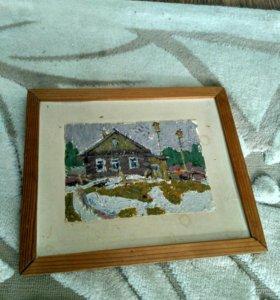 Картина Н. Модоров 66 год. Весна в деревне. (Этюд)