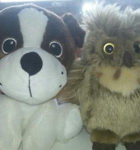 Игрушки щенок и совёнок