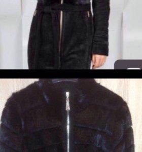 Кожанное пальто с нат.замшей и норкой
