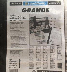 Листы для марок и карточек Leuchtturm GRANDE 3S