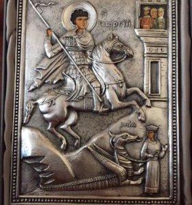 Икона Георгий Победоносец Серебро