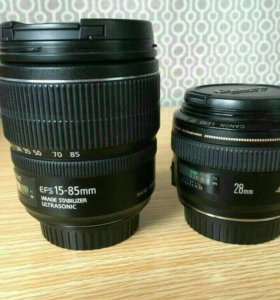 Canon ef 28mm, Canon efs 15-85, Canon 550D