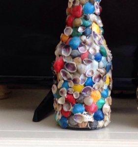 Декор бутылок ракушками