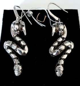 Серьги серебро кобра
