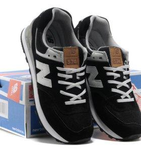 Кроссовки New Balance 574 мужские черные замшевые