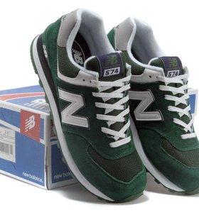 Кроссовки New Balance 574 мужские зеленые замшевые
