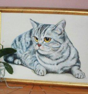 Картина Кот в золотой раме