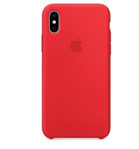 Чехол накладка силиконовая для iPhone X красная
