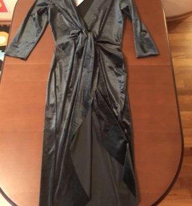 Бархатное платье с запАхом Zara новое