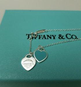 Кулон Tiffany double heart с мятным сердцем