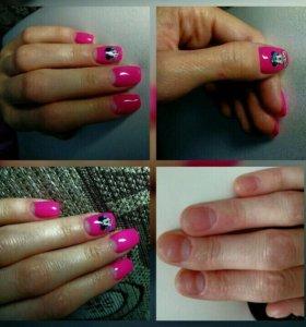 Наращивание ногтей, покрытие гель-лак.  Маникюр