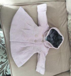 Пальто для девочки 80-86 с содержанием шерсти