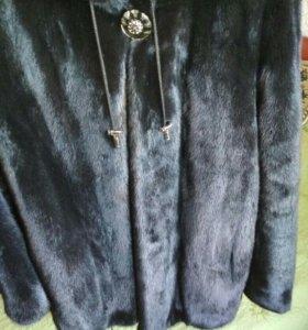 Шубка норковая чёрная Sevanbo 50-54р,капюшон-капля