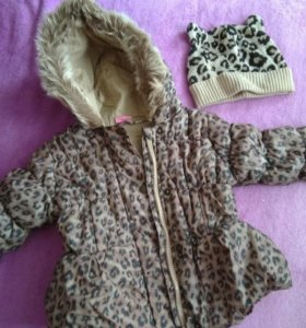 Куртка весенняя и шапочка леопардового цвета