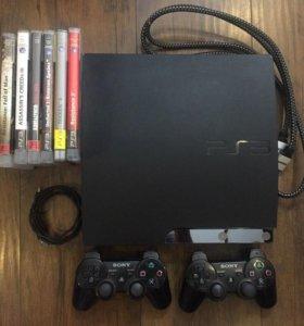 PlayStation 3 Slim + 2 контроллера + игры PS3