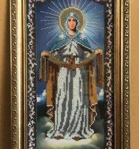 Икона бисером «Покров Пресвятой Богородицы» 18х36