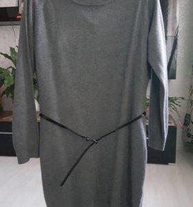 Платье серое трикотаж 46-48