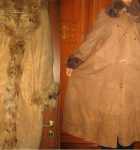 Дубленка.Пальто нубук(простеган подкладка с утепл)