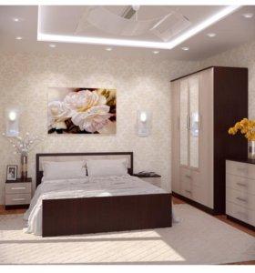 Кровать с матрасом 160*200 и прикроватными тумбами