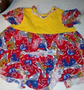 Летнее яркое платье на 1-1,5 года