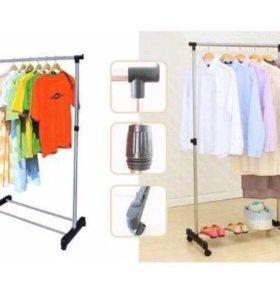 Напольная вешалка для одежды на колёсиках новая