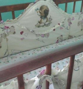 Бортик в кроватку и плед